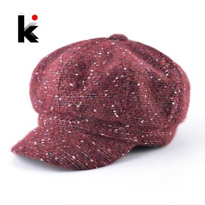 Autumn Winter Fashion Newsboy Caps Women And Men Mixed Color Knitted Octagonal