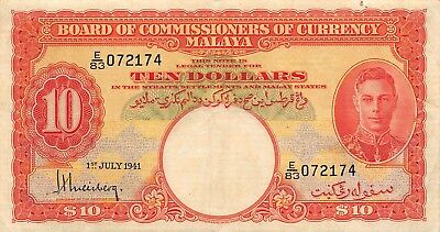 Malaya  $10  1.7.1941  P 13  Series E/83  Kg. G. VI  Circulated Banknote E1W