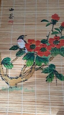 "VTG HandPainted Asian Wall Hanging Art Signed, Bird Flowers on Bamboo 12"" x 19"""