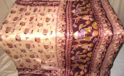 Cream Coffee Pure Silk 4 yard Vintage Sari Saree Fabric spring Ireland US #9EENH
