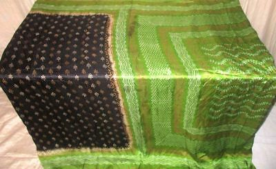Black Green Pure Silk 4 yd Vintage Antique Sari Saree indien Safe Buy UK #9EENK