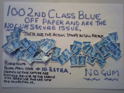 100 Unfranked 2Nd Class Blue 2016 Cutout Stamps  , Off Paper Plus Ten Extra