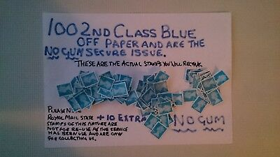 100 Unfranked 2Nd Class Blue 2016 Cutout Stamps  , Off Paper Plus 20 Extra
