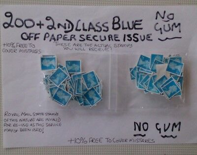 200 Unfranked 2Nd Class Blue 2015/6 Cutout Stamps  , Off Paper Plus 20 Extra