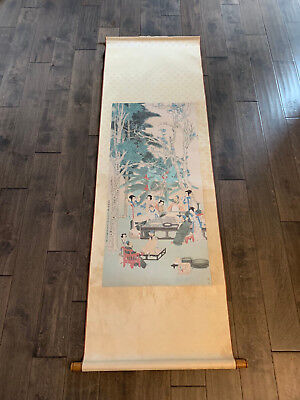 Asian Chinese Scroll Painting or Print w/ Figures Sitting Around Table