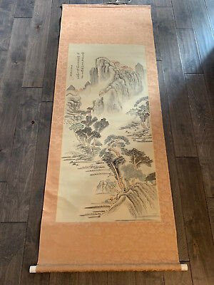 Vintage Antique Chinese Signed Scroll Painting w/ Mountains / Landscape Dec.