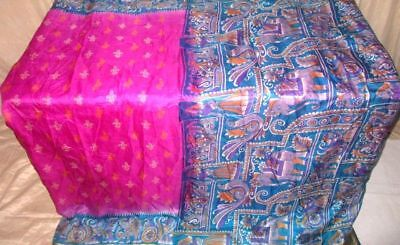Rani Aqua Pure Silk 4 yard Vintage Sari Saree inspired Women's Low Cost #9EENV