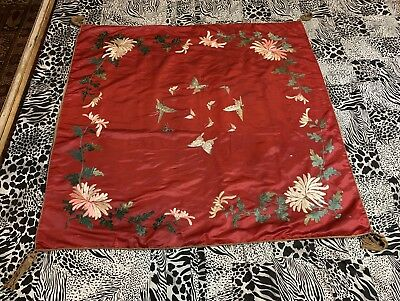 "Antique Chinese Qing Dynasty Hand Embroidery Wall Hanging 46""X 47"" With Tassal"