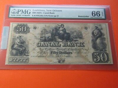 $50 Canal Bank of Louisiana 1850's New Orleans #2 - PMG 66 EPQ