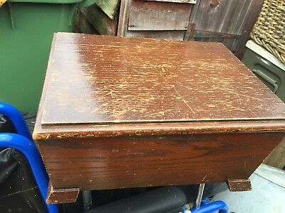 "Antique wooden box sewing jewellery old 9.5""x13""x6"""