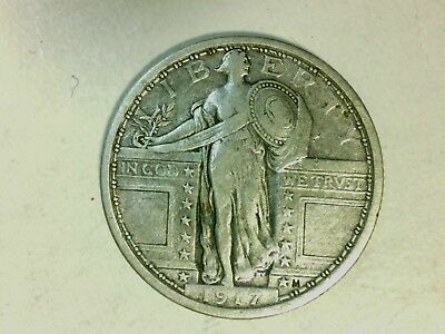 1917 TYPE I Standing Liberty Quarter - The Coin That Shocked the Nation! VF +/-.