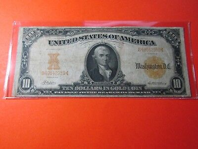"""1907 $10 Large Size US Gold Certificate - F1169A """"Gold Act of 1907"""" - F+ details"""