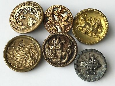 Lot of Antique Metal Picture Buttons