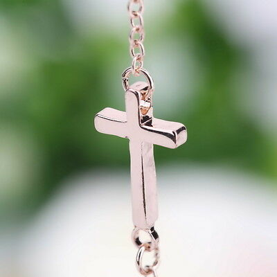 Hot Rose Gold Horizontal Sideways Cross Necklace Adjustable Chain Necklace  hn