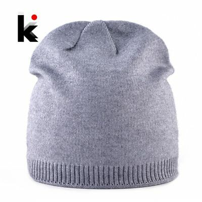 2018 Female Autumn Winter Knitted Hats For Women Solid Color Double Lining Knit