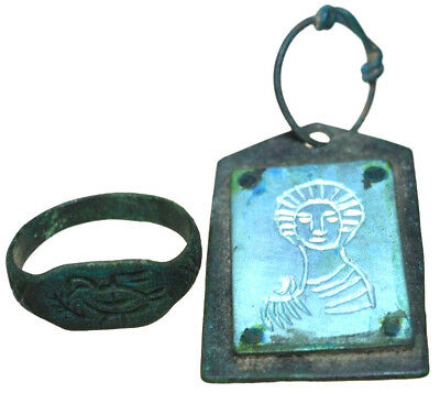 Byzantine Bronze/Silver Element Icon Pendant & Byzantine Bronze Seal Ring Set