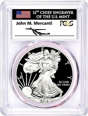 2019 W $1 Proof Silver Eagle PCGS PR70 DCAM First Day of Issue Mercanti