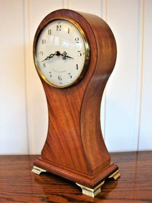 Large English Mahogany Balloon Mantle Clock