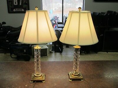 """Pair of Nice 25.5"""" Waterford Crystal Wedgwood Lamps w Shades"""