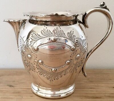 Vintage Ornate Silver Plated Milk Jug With Collar Afternoon Tea Ware