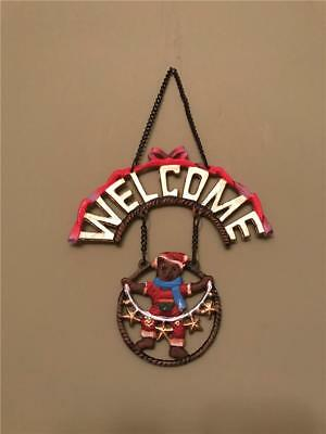 Brown Bear Cast Iron Decorative Welcome Sign / Plaque for Indoor or Outdoor Use