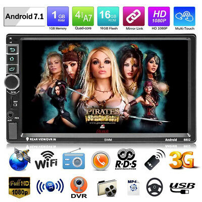 4-core 2DIN 7In Android 7.1 Car MP5 Player GPS Navi BT WIFI RDS AM FM Radio AUX