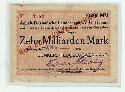 10 Milliarden Mark,07.November 1923 / Junkers Flugzeug Werke AG