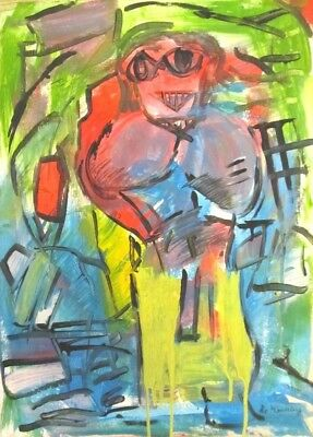 Vintage Abstract Painting Signed de Kooning,  Modern Art  20th century