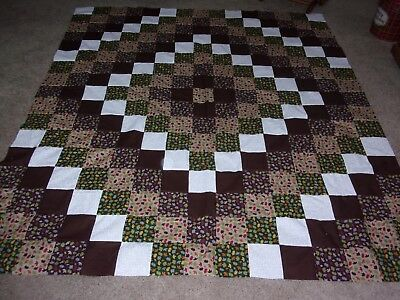 Handmade Unfinished QUILT TOP  Approx 72  X  82  inches in size