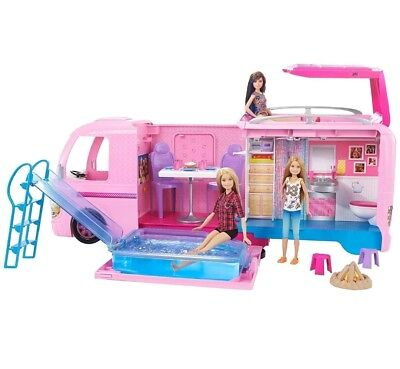BARBIE Dream Camper Playset Kitchen Pool Slide Kids Toy Play House Gift Girls
