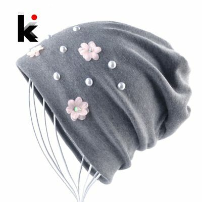 2018 New Fashion Beanies Women Flowers Pearl Solid Hats Female Spring Autumn