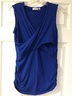 Momzelle Nursing Breastfeeding Sleeveless Tee Shirt V-neck Blue Size Medium EUC