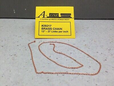 """HO//HOn3//N Scales Brass Model Chain 28 Links Per Inch /""""SOLD BY THE FOOT/"""" Item #0"""