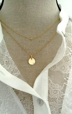 Pendentif médaille Or jaune Diamant Lonely Diamond MATY style Ginette NY Ofee