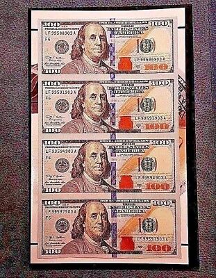 2009A (x4) $100 UNCUT CURRENCY BEP Sheet US Federal Reserve FR Notes >> STUNNER!