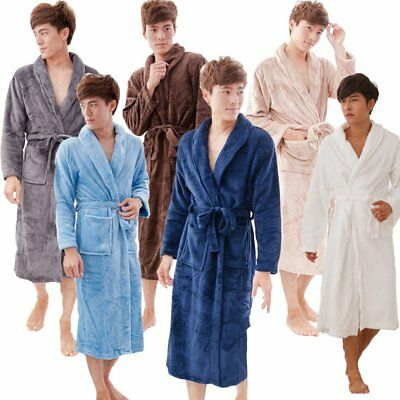 Solid Color Coral Fleece Winter Bathrobe Men Women Pajamas V-Neck Bath Robe FQ