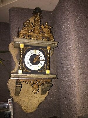 Vintage Dutch Nu Elck Syn Sin Wall Hanging Striking Clock Parts Only Repair