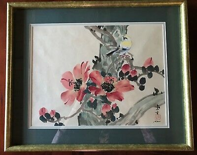 Vintage Print of Japanese Watercolor Painting Goldfinch Unknown Artist Signed