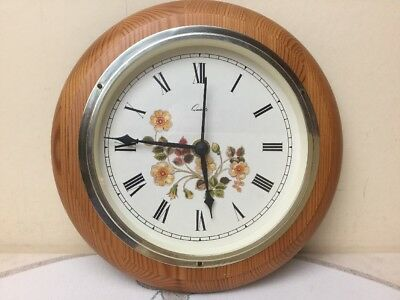 Marks & Spencer M&S Autumn Leaves Wall Clock Wood Surround Works Perfect