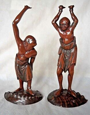 ANTIQUE JAPANESE MEIJI c1880 BRONZE FIGURES ASHINAGA & TENAGA ON SEASHELLS