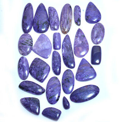 493 Ct/24 Pcs 100% Natural Russian Charoite Cabochon AAA+ Qualitty Gemstones Lot
