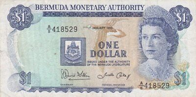#Bermuda Monetary Authority 1 Dollar 1986 P-28 VF Qn.Elizabeth II