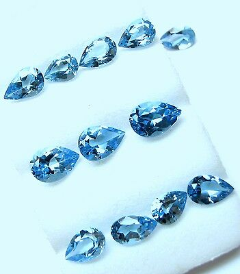 66.05 CaratsTol, Natural Loose Gem Lot 50  Pcs Pear Swiss Blue Topaz  7x5-10x7MM