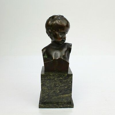 Small Antique Bronze Bust of a Child after Jean-Antoine Houdon - BR