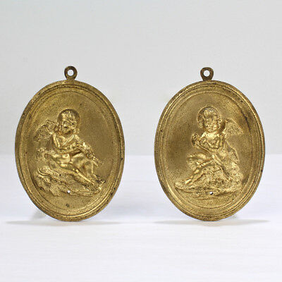 Pair of Antique 19th Century French Gilt Doré Bronze Plaques with Cupid - BR
