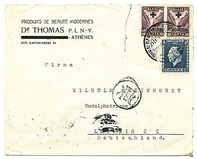 """Greece Ελλασ # 537, C78 """"athina"""" Cover To Germany Censored (1937)"""