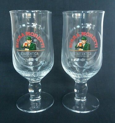 2 Half Pint BIRRA MORETTI LAGER / Beer Stemmed Glasses  - NEW - Home Bar - Pub