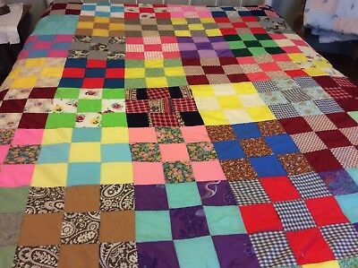 Neat Colorful Hand Stitched 9 Patch Quilt Top, Vintage  85X73