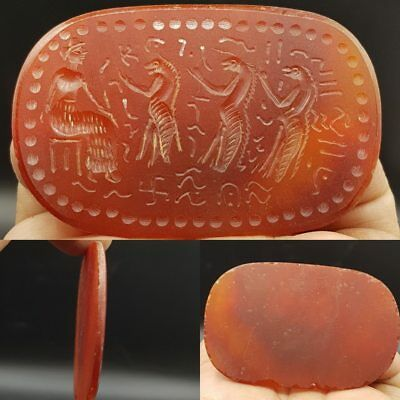 Big Antique Rare Lovely Excellent Seal Intaglio Art Agate stone 7.2 cm    # 8N