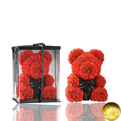 2019 Valentine Teddy Bear Foam Red Rose Flower Bear Toys Gifts 38cm New UK